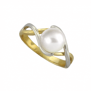 Fresh water pearl 9ct yellow and white gold ring